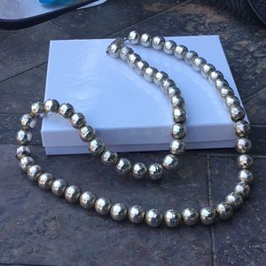 Sterling Silver Giant Beaded Necklace
